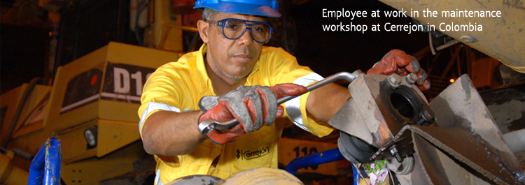 Employee at work in the maintenance workshop at Cerrejon in Colombia