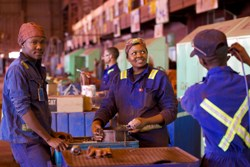 Employees in the workshop at Kumba Iron Ore's Sishen mine