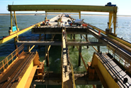 Construction of the Port of Açu jetty in Brazil, part of the Minas-Rio project