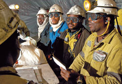Miners at Goedehoop Colliery receiving safety instructions